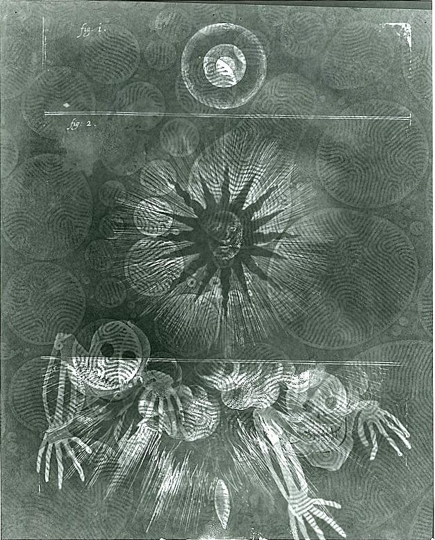 Brian George, Black Sun with Descending Skeletons, 2002